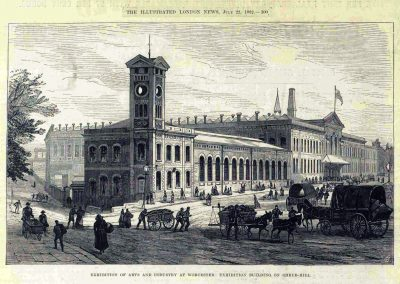Engraving of Shrub Hill Station, venue for Worcester Exhibition of 1882. (London Illustrated News)